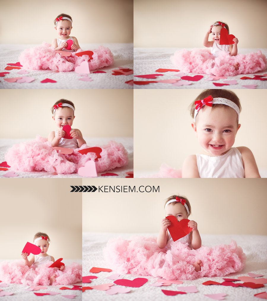 Baby Photography. Valentine Baby Girl Poses. Indoor valentine's baby portraits. www.kensiem.com | Winchester Virginia Photographer