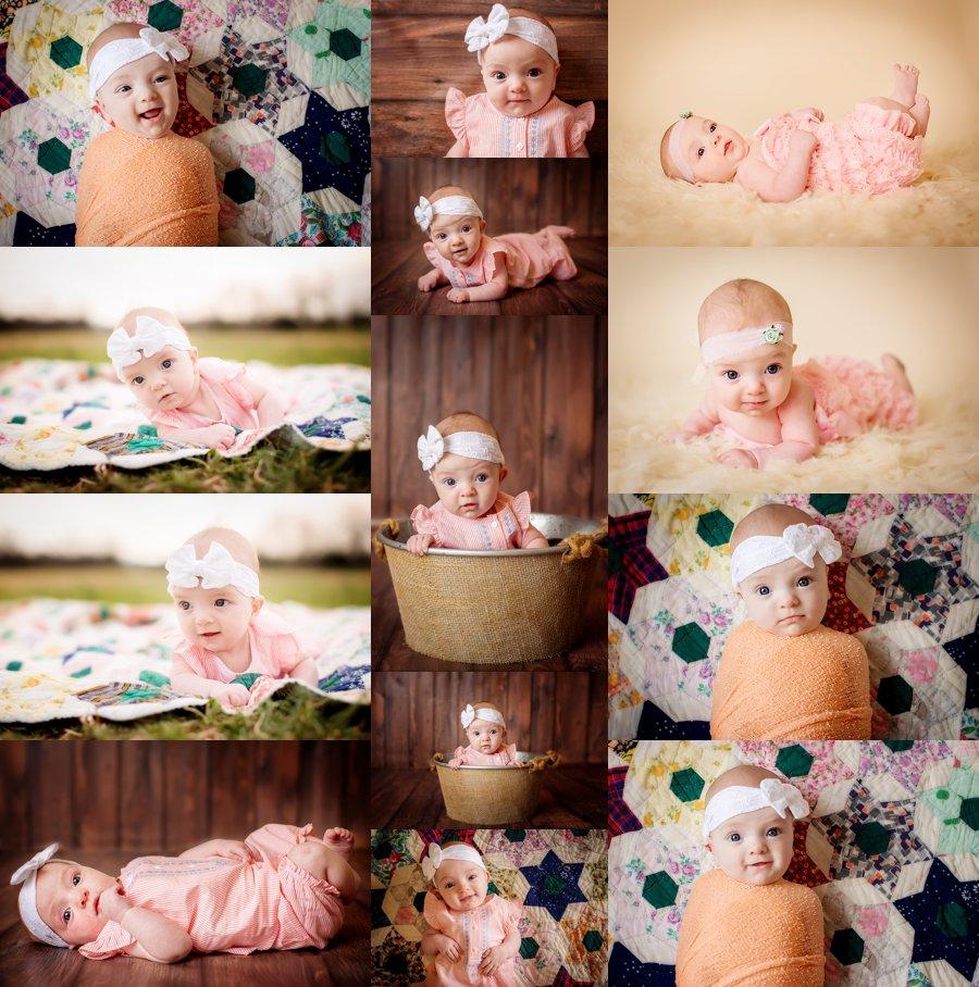 Northern Virginia Baby Photography. Winchester VA Baby Photographer. 3 Month Poses. Indoor studio baby girl portraits. www.kensiem.com | Northern Virginia Photographer