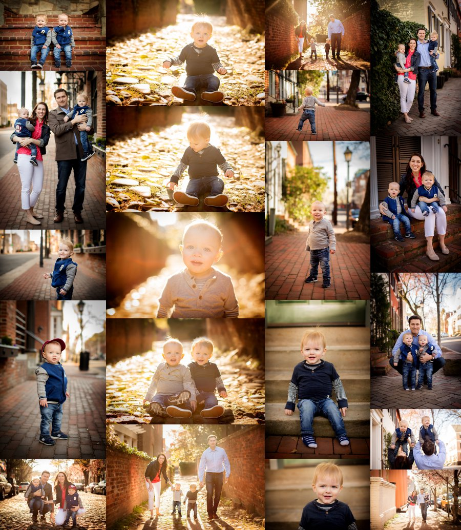 Northern Virginia Family Photography. Arlington VA Family Photographer. Family with Twins Poses. Outdoor spring family portraits in Old Town. www.kensiem.com | Northern Virginia Photographer