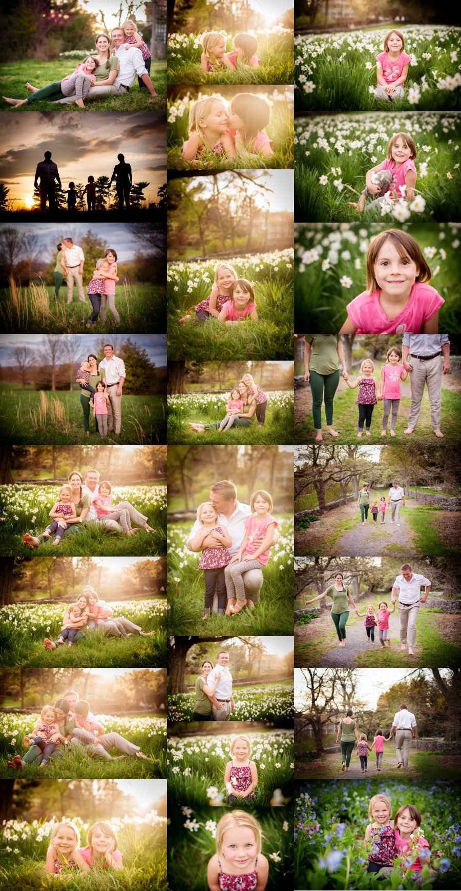Shenandoah Valley Family Photography. Stephens City VA Family Photographer. Family of Four Poses. Outdoor spring family portraits in flowers. www.kensiem.com | Northern Virginia Photographer