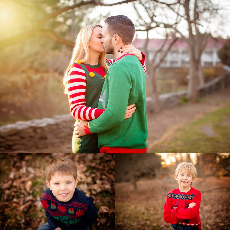 Click to See More! Northern Virginia Family Photography. Loudon County VA Family Photographer. Family of Four Christmas Poses. Outdoor Christmas sweater family portraits. www.kensiem.com | Northern Virginia Photographer