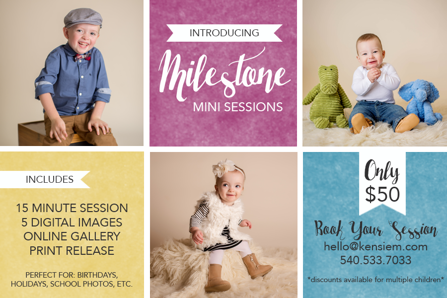 Introducing Milestone Mini Sessions! Shenandoah Valley Family Photography. Winchester VA Family Photographer.  www.kensiem.com | Northern Virginia Photographer