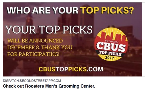 CBUS Top Picks - Roosters Selected Among Top 3 Columbus Salons in 2017