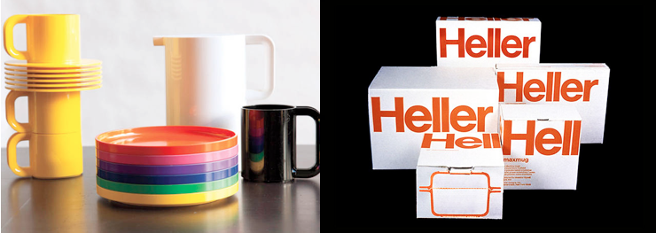 His designs for Heller, including both product and packaging/ logo
