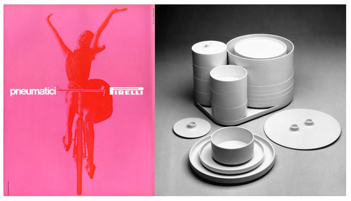 Left: poster for Pirelli, Right: More designs for Heller