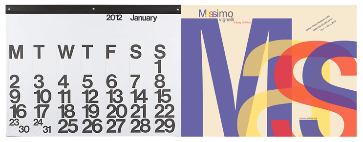 Left: Stendig Calendar, Right: Poster for Massimo's company