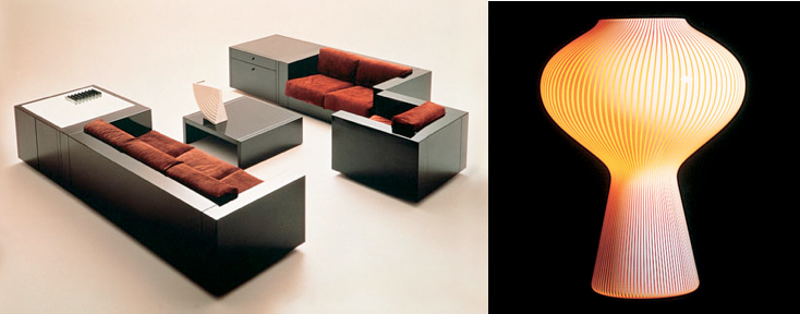 Left: Poltronova Saratoga furniture systems, Right: Lighting designed by Lella and Massimo