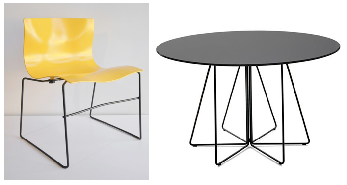 Left: Handkerchief chair for Knoll, Right: Paperclip table for Knoll