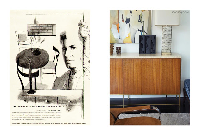Left: Advert for Paul McCobb, C 1950's, Right: Modern day setting including a Paul McCobb credenza