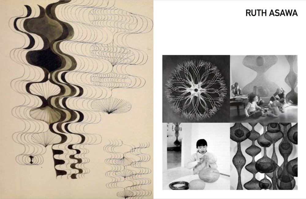 Left: Sketch by Ruth Asawa, Right: Clockwise: Tied, Photo of Ruth and her children by Imogen Cunningham, Ruth in her home, phot by Imogen Cunnningham, Untiled, 1950's