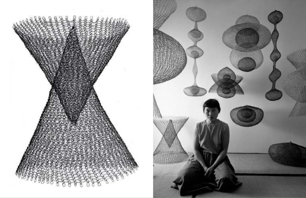 Left: Untitled 1950-55, Right: Portrait of Ruth Asawa by Imogen Cunningham