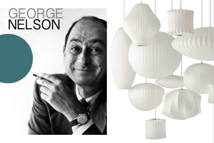 Left: Portrait of George Nelson, 1965, Right: The famous bubble lamp series first designed in 1947