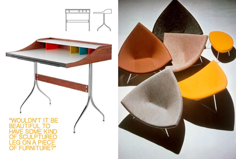 Left: The Swag Leg Desk, designed in 1958, Technical Illustration courtesy of DWR, Right: The Coconut Chair designed in 1955