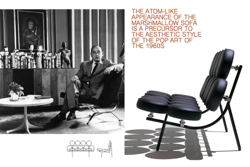 Left: George Nelson reclining, Archival image courtesy of Vitra Design Museum, Right: The Marshmallow Sofa, 1956, co designed with Irving Harper, Photo courtesy of Herman Miller, Technical Illustration courtesy of DWR