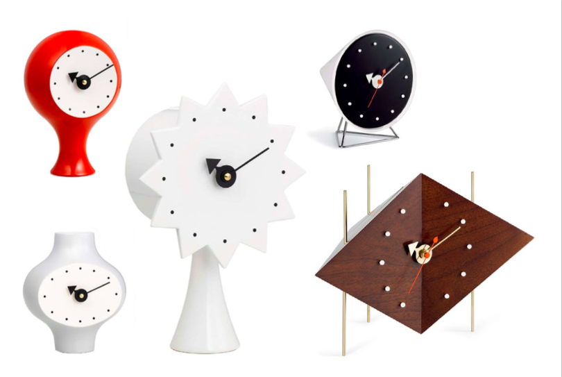 Some of the bedside clocks designed by George Nelson, Images courtesy of Hive Modern