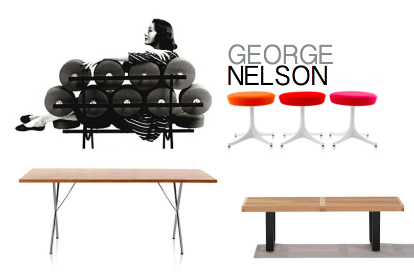 Images, clockwise: The Marshmallow Sofa, 1956, Pedestal stools, designed in 1954, The Nelson X Table, 1950 and The Nelson Platform Bench, 1946
