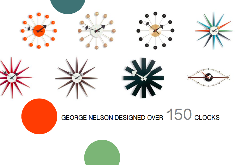 Above: Just a few of the clocks designed by George Nelson
