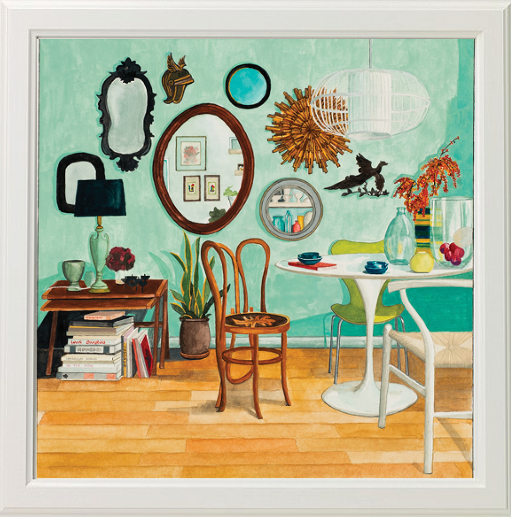 Illustration by Laura Mira of Interior by Studio Marcus Hay, Inc