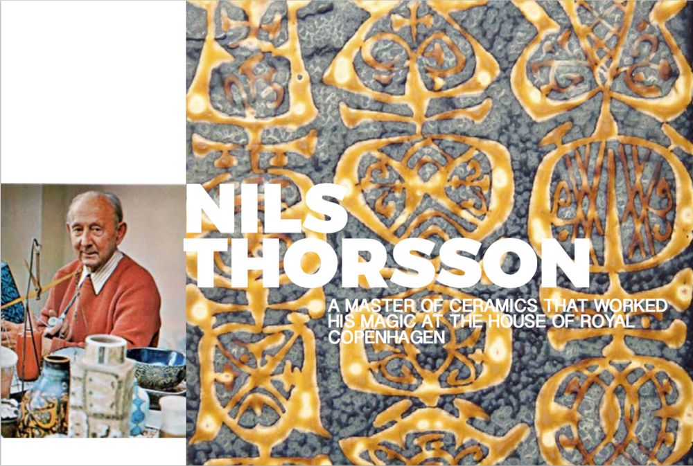 "Left: Portrait of Nils, shot in 1972 in his studio, Image from the book""The Royal Copenhagen Porcelain Manufactory 1775-1975"" Right: Detail of a platter from the Baca range"