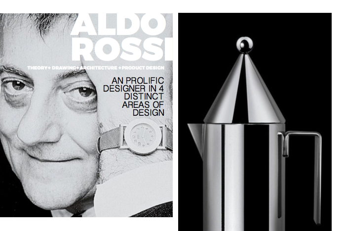 Left: Portrait Of Aldo Rossi, Right: Alessi La Conica Coffee pot, 1980-83