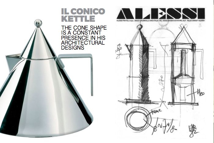 Left: Il Cinco Kettle, Right: Sketches of the La Conica Coffee pot for Alessi