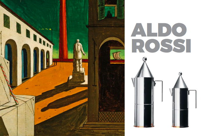 Left: Painting bt Aldo Rossi, Right La Conica Coffee pot for Alessi