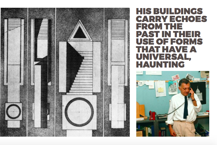 Left: Sketch, Right Aldo Rossi in his office, 1980's