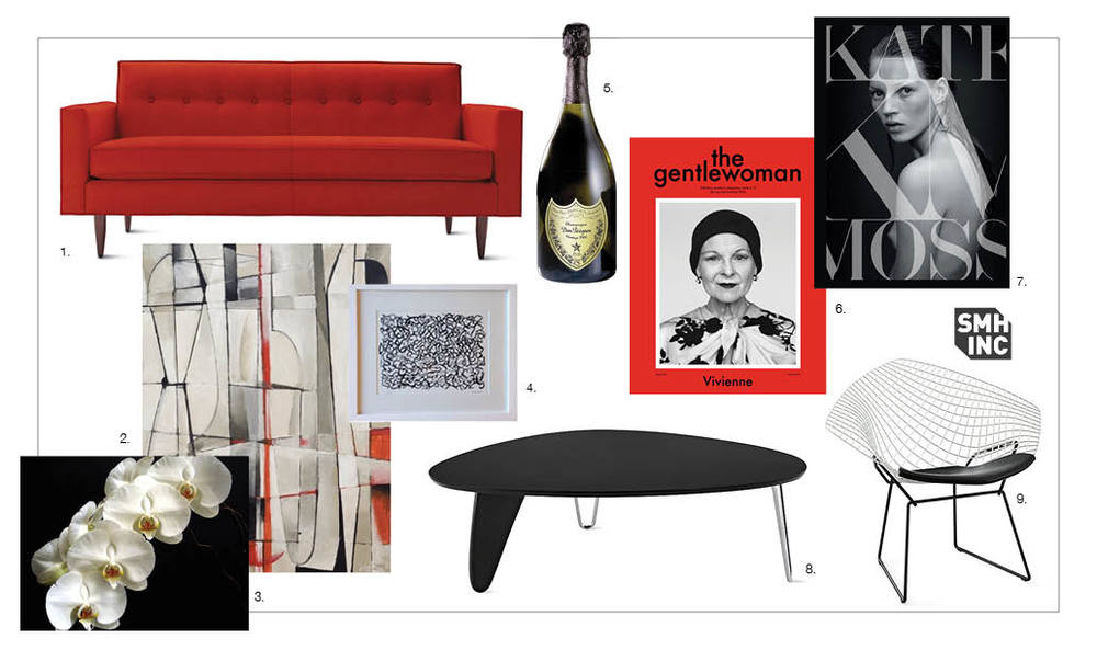 "1. Bantam 73"" Sofa in Poppy Boucle, from Design Within Reach, 2. ""First Day at School"" by McKkev, Acrylic on canvas, from Art for Film 3. Phalaenopsis (Moth Orchids), 4. ""Graffiti # 13"" by Petrob, print, from Art for Film, 5. Dom Pérignon Champagne, 6. Gentlewoman Magazine, Issue 9,  featuring Vivienne Westwood on the cover, Photographed by Alasdair McLellan, 7. Kate Moss Book, published by Rizzolli, Written by Kate Moss, Edited by Fabien Baron, Jess Hallett and Jefferson Hack, 8. Noguchi® Rudder Table, Designed by Isamu Noguchi for Herman Miller®, from Design Within Reach, Bertoia Two-Tone Diamond Lounge Chair, Designed by Harry Bertoia for Knoll®, from Design Within Reach. Silo furniture images courtesy of Design Within Reach."