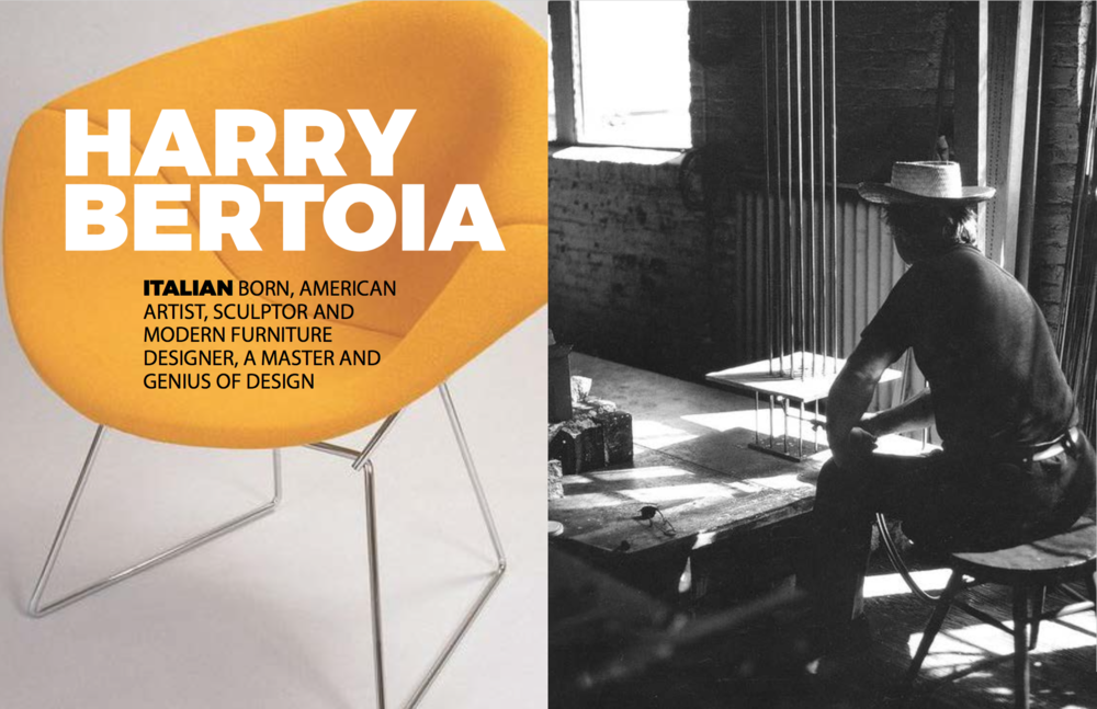 Left: Diamond chair in yellow with cover, Right: Harry in his studio