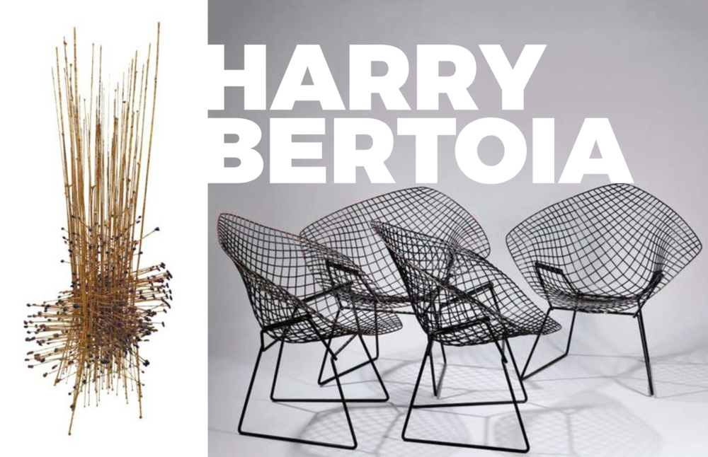 Left: Cornet Sculpture, 1964, Image courtesy of Sotherbys, Right: The famous Diamond chairs for Knoll
