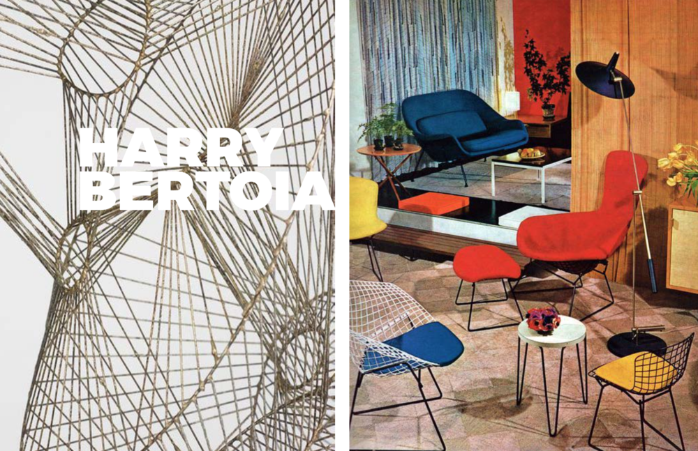 Right: Sculpture, Left: On display in Knoll showroom, 1950's