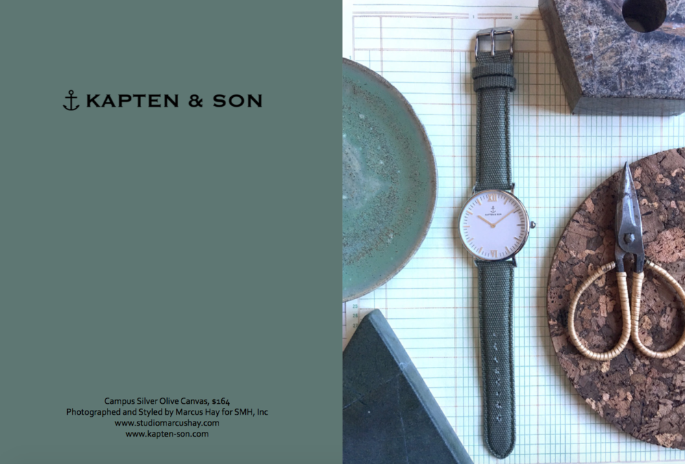 Photography & Styling: Marcus for SMH, Inc, Check out  Kapten & Son  watches here. Inspiration for the styling of this shot came from the rugged outdoors nature of this watch and the inspired feeling of a military safari overtone.