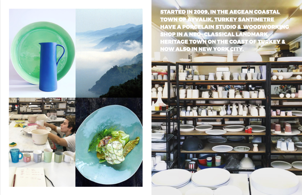 Left: Clockwise: Some examples of the studios work, The Turkish coastline, At the Porcelain Studio in Ayvalik, Turkey, Plated food from Neolokal on one of Santimetre's pieces, Right: At the Porcelain Studio in Ayvalik, Turkey, Images courtesy of Neolokal and Santimetre Studio