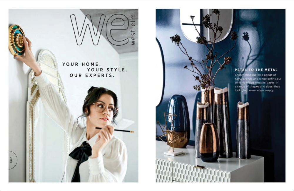 Left: Cover of June Catalog, Right: A collection of new vases, Photography: Paul Raeside, Styling: Marcus Hay for SMH, Inc
