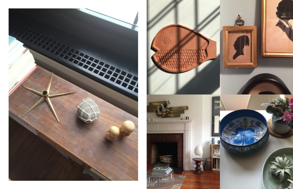 Left: Random objects near my bedroom window, Left: Detail shots including a fish wall plaque by Bennington Pottery, Cameo Frames, My living room and a beautiful Royal Copenhagen bowl given to me by a dear friend. Photography: Marcus Hay for SMH, Inc