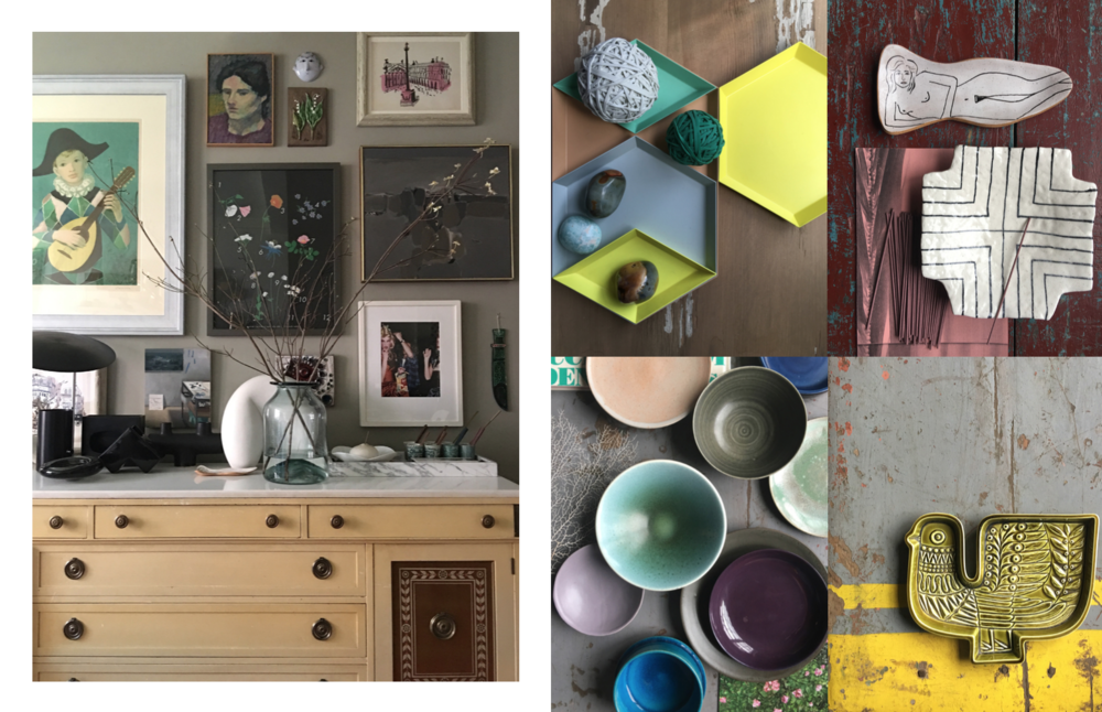 Left: My living room with a gallery of my framed artwork, Right: Detail images: Hay Copenhagen trays with random objects, Ceramic objects including bowls by Christiane Perrochon, A vintage bird platter by Poole Pottery  Photography: Marcus Hay for SMH, Inc