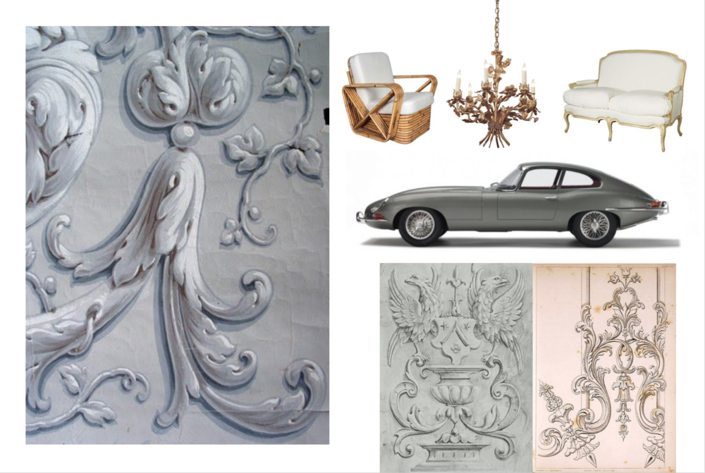 The mix of old and new is apparent in the design of the movie, sports cars and french wallpaper mix together easily