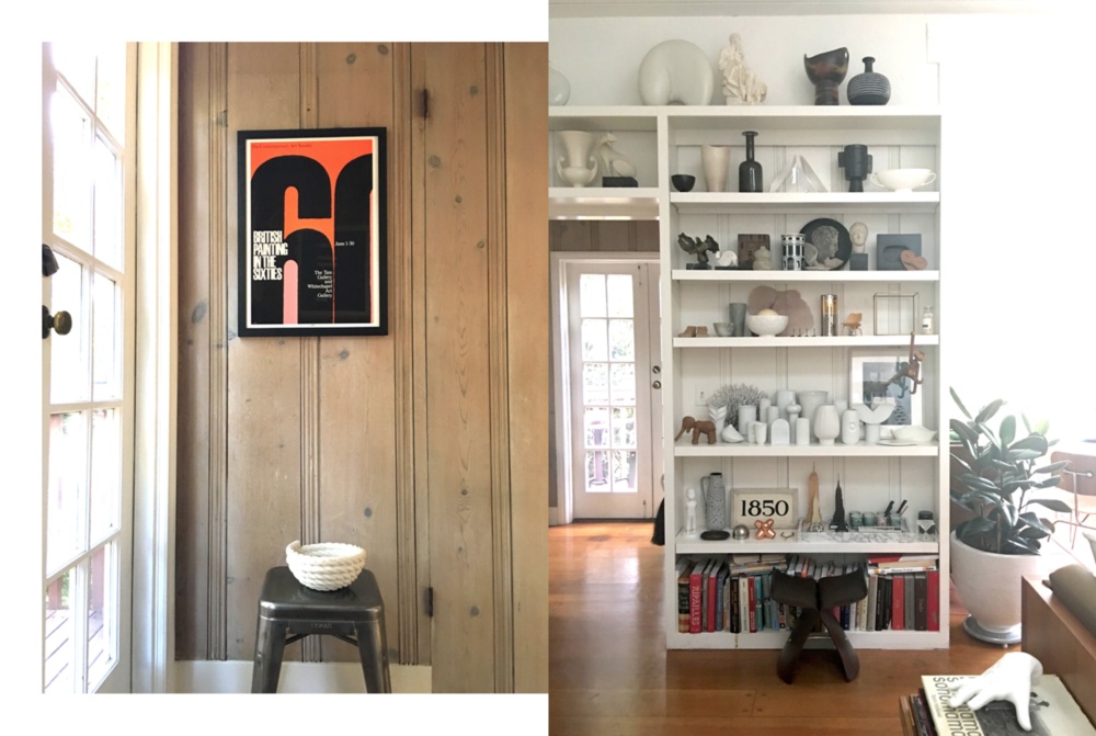 Photography: Marcus Hay, Left: The Treehouse lined with panelling, Right: Marcus's living room with custom made shelves ready to house all his ceramics