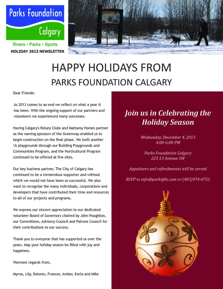 Holiday Newsletter  Parks Foundation Calgary