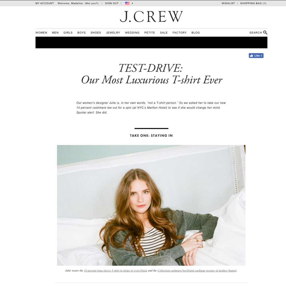 Wore a tee shirt for J.Crew