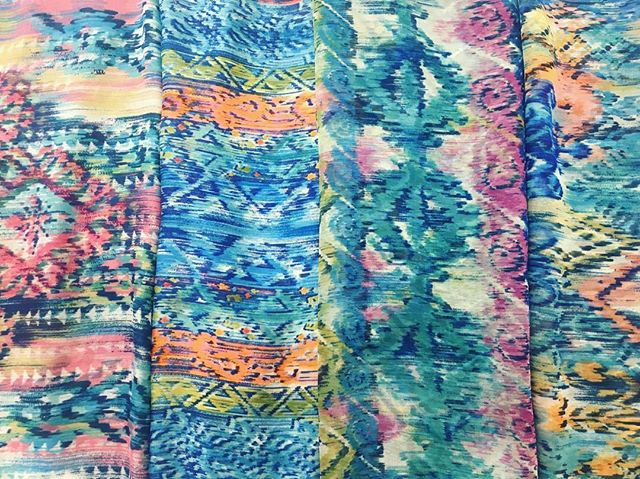 Getting ready for spring with our colorful ikat designs!💐 . . #springprints #ikat #textiledesignstudio #sublimationprinting #garmentcenter