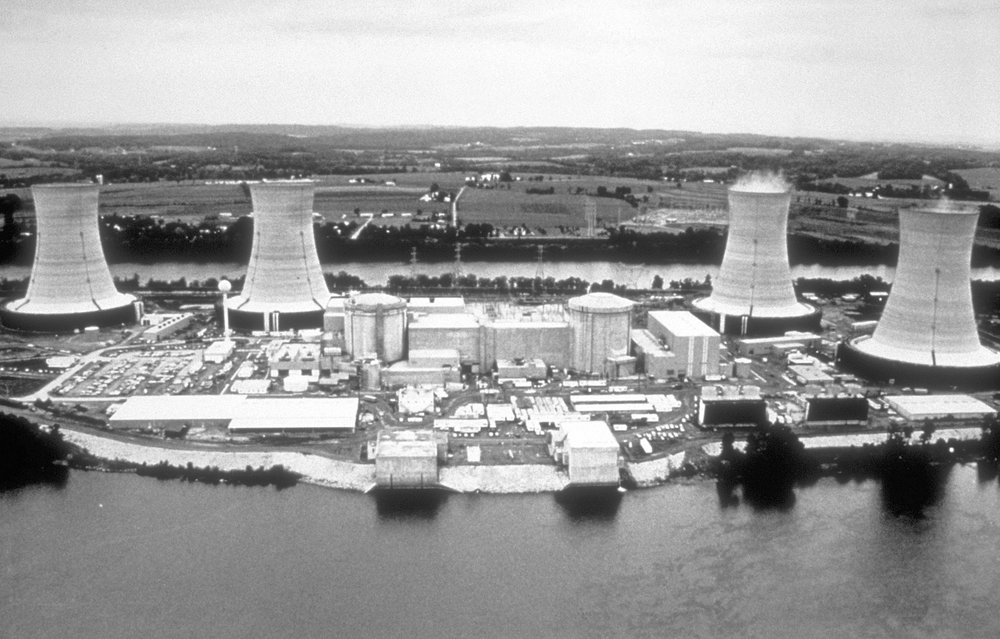 Aerial photograph of the Three Mile Island Nuclear Power Plant. This media comes from the Centers for Disease Control and Prevention's Public Health Image Library (PHIL).