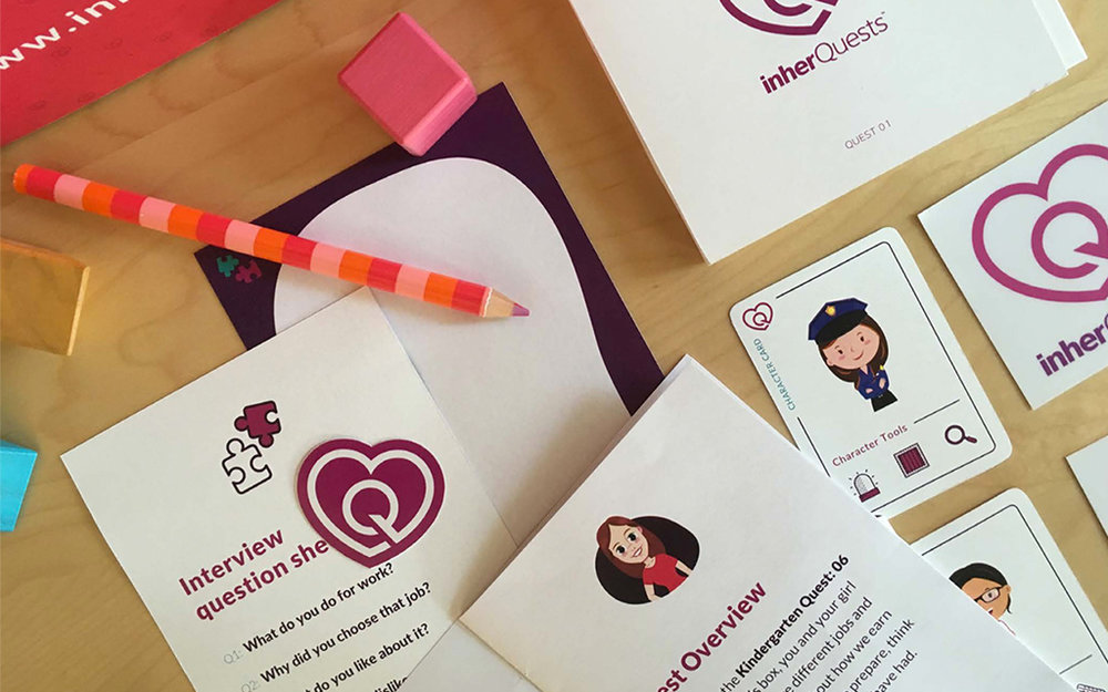 "We worked with inherQuests to develop prototypes for ""Quests"" which were lesson kits designed for parents and their daughters."