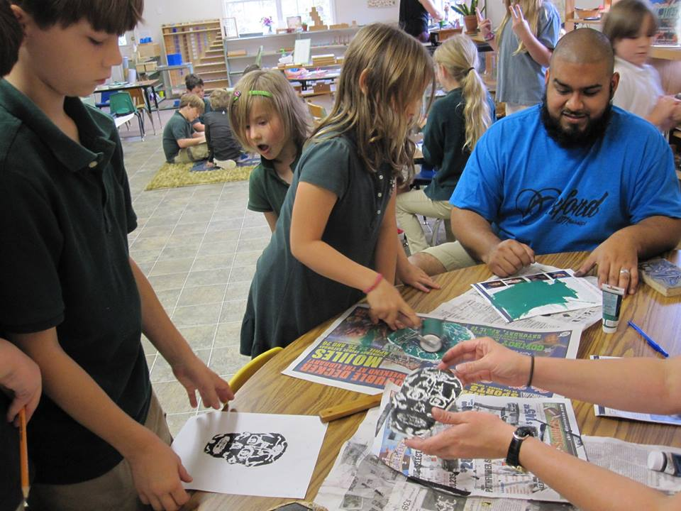 Magnolia Montessori School (Day of the Dead Printmaking Demo)
