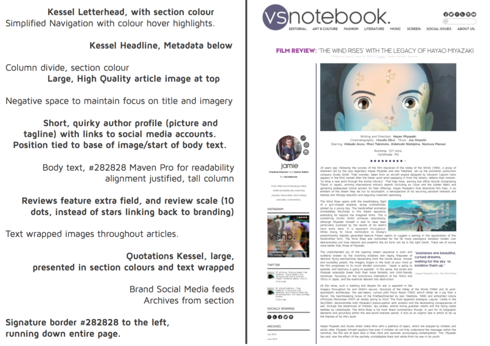 Detail: Article page, layout and functionality