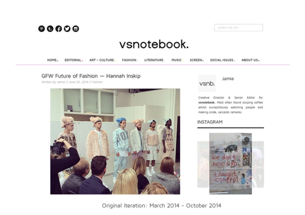 Early live vsnotebook. design, Spring 2014-Autumn 2014