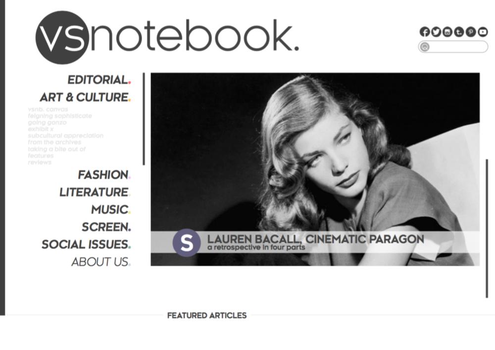 vsnotebook. homepage design, with navigation and slider