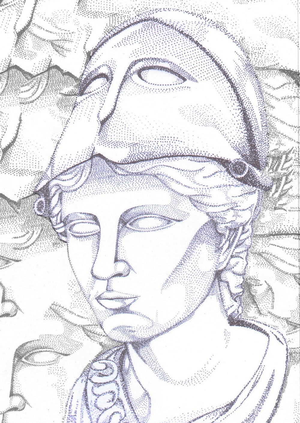 Marble and bronze bust of helmeted Athena.
