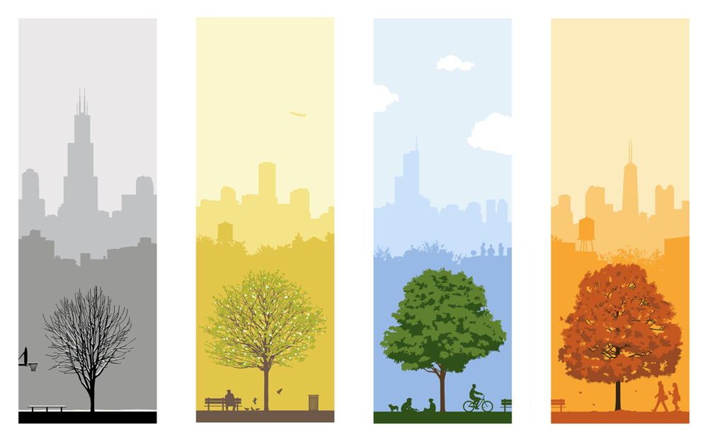4 SEASONS CHICAGO / Set of 4 Screen Prints / 9.5 x 24 in. each / 3 Editions