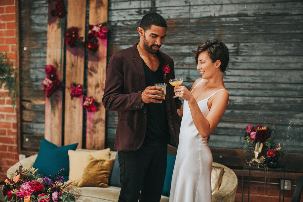 Moody Cocktail Party Wedding, Planning & Design: Art & Soul Events, Seventh Place